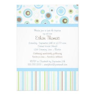Blue Green Sweet Baby Boy Polka Dot Baptism Invite