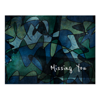 "Blue, Green, Teal Abstract Art ""Missing You"" Postcard"