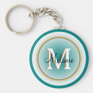 Blue Green Teal and Faux Gold Name and Initial Basic Round Button Key Ring