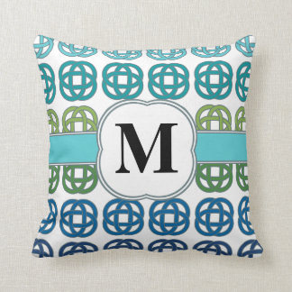 Blue Green Teal Aqua Celtic Knot Custom Monogram Cushion