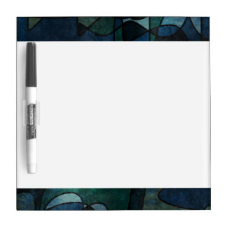 Blue Green Teal Digital Stained Glass Abstract Art Dry-Erase Board