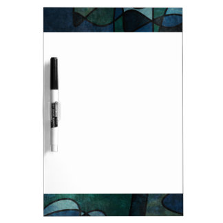 Blue Green Teal Digital Stained Glass Abstract Art Dry Erase Whiteboard
