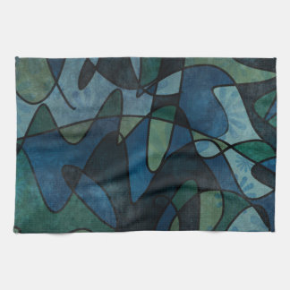Blue Green Teal Digital Stained Glass Abstract Art Tea Towel