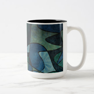 Blue Green Teal Digital Stained Glass Abstract Art Two-Tone Coffee Mug
