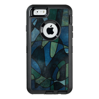 Blue Green Teal Digital Stained Glass Abstract OtterBox Defender iPhone Case