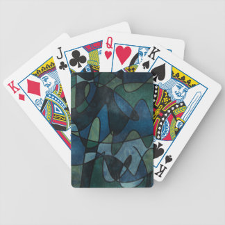 Blue Green Teal Digital Stained Glass Abstract Poker Deck