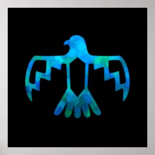 Blue-Green Thunderbird Poster