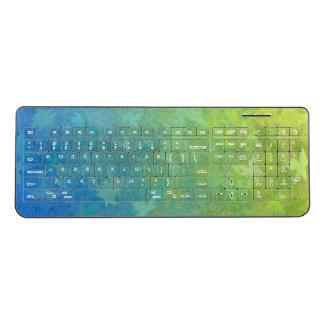 Blue Green Tree Leaves Wireless Keyboard