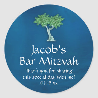 Blue Green Tree of Life Bar Mitzvah Classic Round Sticker