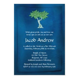 Blue Green Tree of Life Bar Mitzvah Invitations