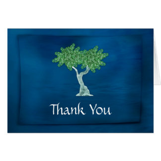 Blue Green Tree of Life Bar Mitzvah Thank You Card