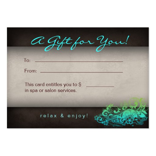 Blue Green Trendy Salon Spa Floral Gift Card Business Cards