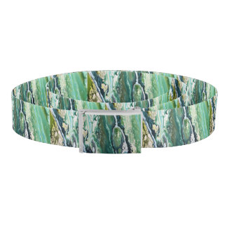 Blue green turquoise vertical abstract paint lines belt