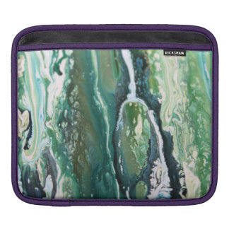 Blue green turquoise vertical abstract paint lines iPad sleeve