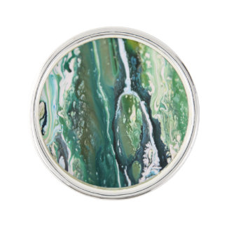Blue green turquoise vertical abstract paint lines lapel pin