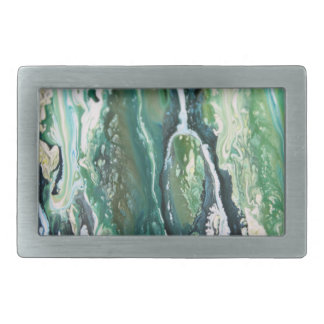 Blue green turquoise vertical abstract paint lines rectangular belt buckle