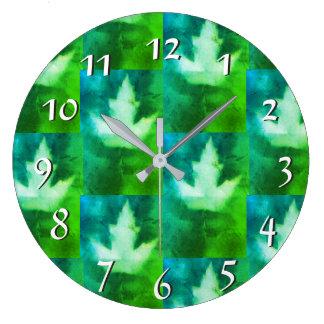 Blue Green Vibrant Colorful Maple Leaf Artisan Large Clock