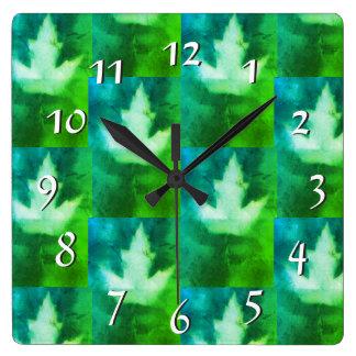 Blue Green Vibrant Dreamy Colors Artistan Leaf Square Wall Clock