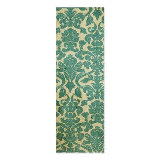 Blue green vintage damask bookmark business card