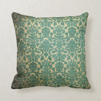 Blue green vintage damask throw pillow