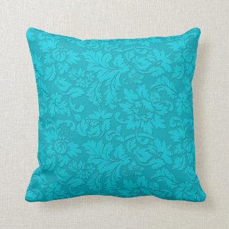 Blue-Green  Vintage Floral Damasks Throw Pillow