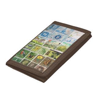 Blue Green Wallet, Summer Landscape, Stamp Art Tri-fold Wallets