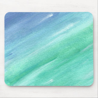 blue green watercolor abstract mousepad