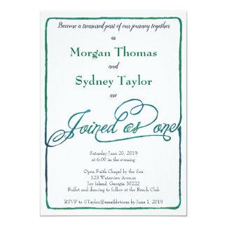 Blue Green Watercolor Gender Neutral Wedding Card