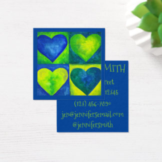 Blue Green Watercolor Hearts Heart Art Love Square Business Card