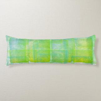 Blue Green Watercolor Silk Screen Print Pattern Body Cushion