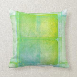 Blue Green Watercolor Silk Screen Print Pattern Cushion