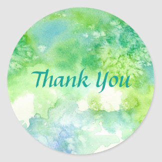Blue Green Watercolor Wash Painting Thank You Round Sticker