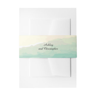 Blue Green Watercolor Wedding Belly Band Invitation Belly Band