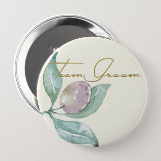 BLUE GREEN WATERCOLOUR FOLIAGE OLIVE TEAM GROOM 10 CM ROUND BADGE