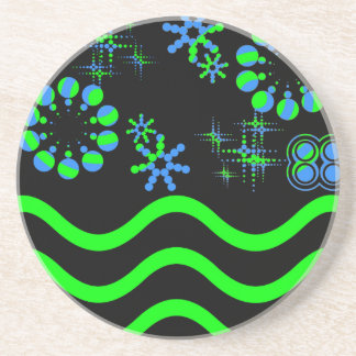 Blue green waves and stars beverage coaster