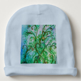 BLUE GREEN WHIMSICAL FLOURISHES WITH HEART BABY BEANIE
