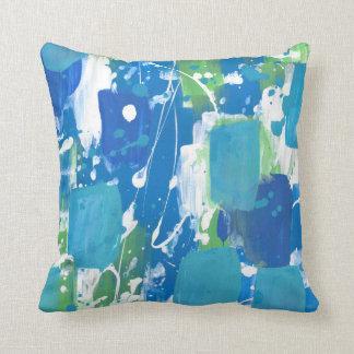 Blue Green White Abstract Cushion