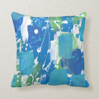 Blue Green White Abstract Throw Pillow