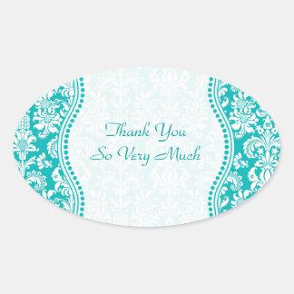 Blue-Green & White Floral Damasks Pattern Oval Sticker