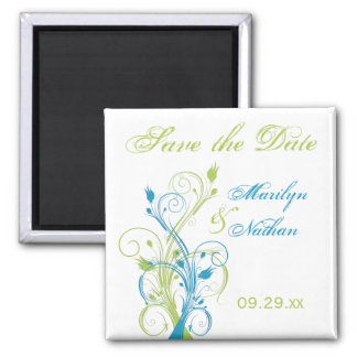 Blue Green White Floral Save the Date Magnet
