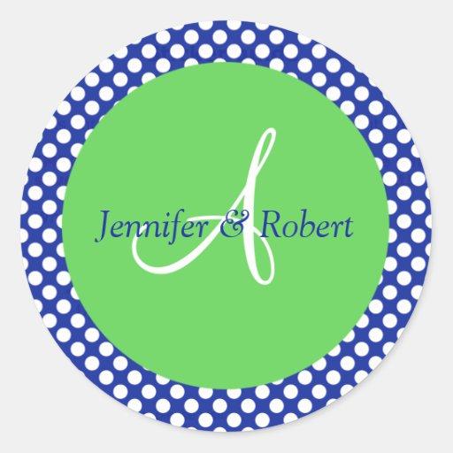Blue Green White Polka Dot Monogram A Envelope Sea Round Sticker