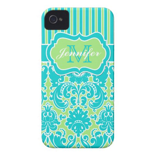 Blue, Green, White Striped Damask iPhone 4 iPhone 4 Cover
