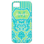 Blue, Green, White Striped Damask iPhone 5 iPhone 5 Cover
