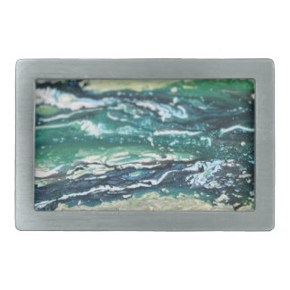 Blue green white turquoise abstract paint lines belt buckle