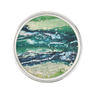 Blue green white turquoise abstract paint lines lapel pin