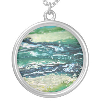 Blue green white turquoise abstract paint lines silver plated necklace