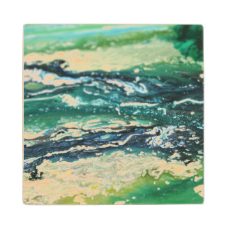Blue green white turquoise abstract paint lines wood coaster