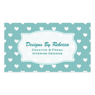 Blue, Green With White Heart Business Cards