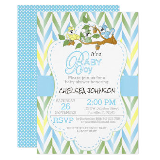 Blue, Green Yellow Pastel Baby Squirrels Card