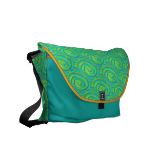 Blue Green Yellow Swirls Courier Bags